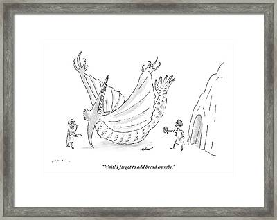 Caveman And Woman Begin To Eat A Pterodactyl Framed Print