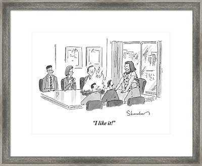 Caveman Stands At Head Of Table In Boardroom Framed Print