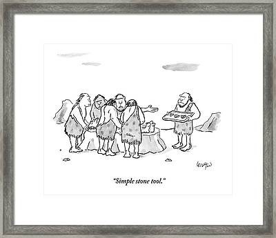 Cavemen Perform Surgery On Another Caveman Framed Print