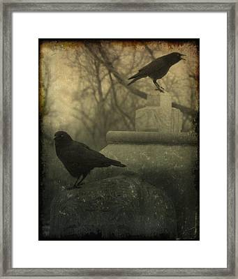 Cawing At The Gravyard Framed Print by Gothicrow Images