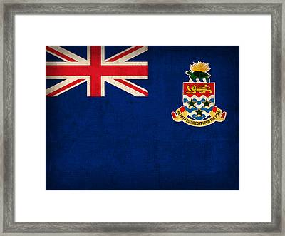 Cayman Islands Flag Vintage Distressed Finish Framed Print