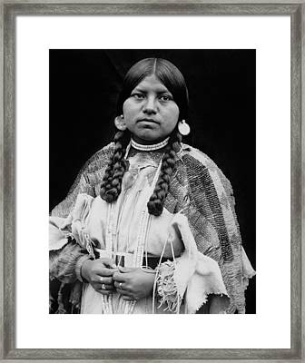 Cayuse Woman Circa 1910 Framed Print by Aged Pixel