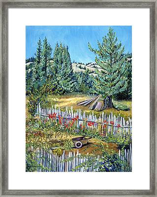 Framed Print featuring the painting Cazadero Farm And Flowers by Asha Carolyn Young