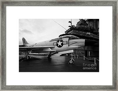 cDonnell f3 F3H2N F3B demon on the flight deck on display at the Intrepid Sea Air Space Museum Framed Print