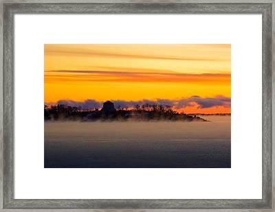 Cedar Island Morning Mist Framed Print by Paul Wash