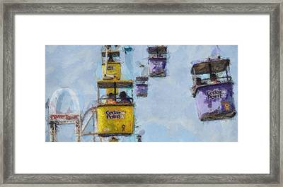 Cedar Point Aerial Tram Framed Print by Dan Sproul