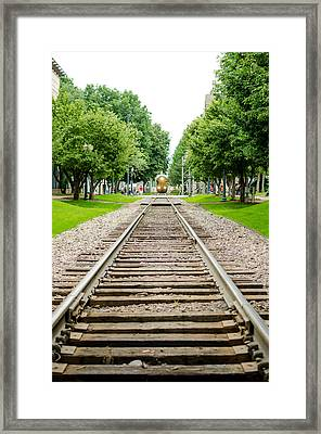 Cedar Rapids Train Coming Down The Tracks Framed Print