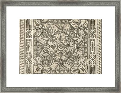 Ceiling With A Medusa Head In The Middle Framed Print by Pieter Van Der Heyden And Jacob Floris And Hieronymus Cock