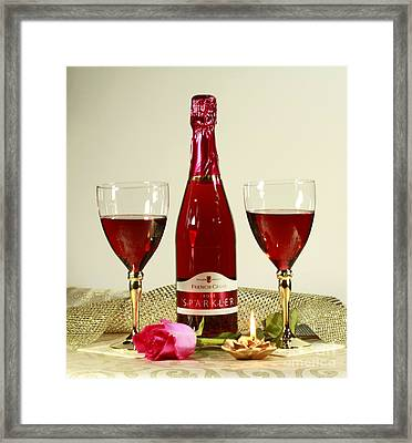 Celebrate With Sparkling Rose Wine Framed Print by Inspired Nature Photography Fine Art Photography
