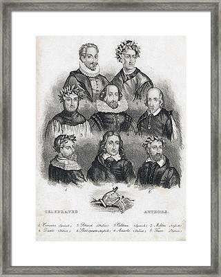 Celebrated European Authors Framed Print by Folger Shakespeare Library