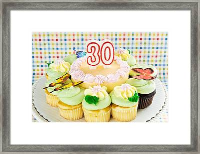 Birthday Cake And Cupcakes Celebrating 30 Framed Print