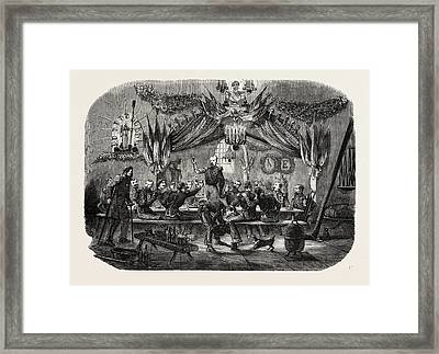 Celebrating The Feast Of St. Barbara, Vincennes Framed Print by English School