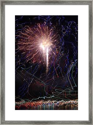 Celebration Fireworks Grand Lake Co 2007 Framed Print by Jacqueline Russell