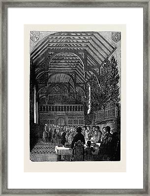 Celebration Of Palm Sunday In The Hall Of Sackville College Framed Print by English School