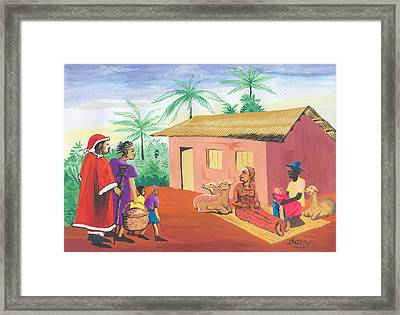 Framed Print featuring the painting Celebration Of The Nativity In Cameroon by Emmanuel Baliyanga