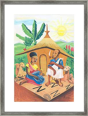 Framed Print featuring the painting Celebration Of The Nativity In Rwanda by Emmanuel Baliyanga