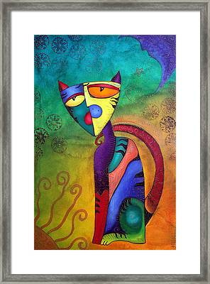 Celestial Cat Framed Print by Laura Barbosa