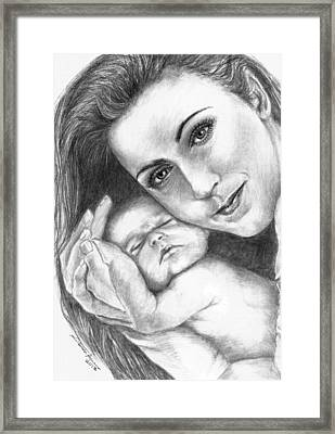 Celine Dion And Her Baby Framed Print