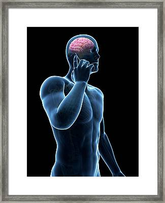 Cell Phone And Human Brain Framed Print by Sebastian Kaulitzki