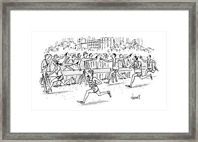 Cell Phone Marathon Framed Print