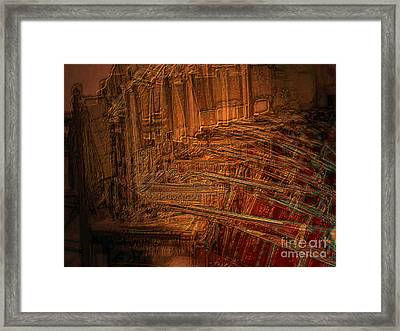 Framed Print featuring the digital art Celli On Chairs by Mojo Mendiola