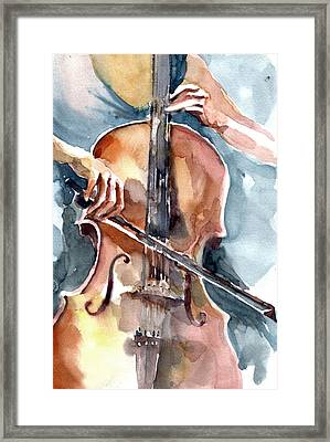 Framed Print featuring the painting Cellist by Faruk Koksal