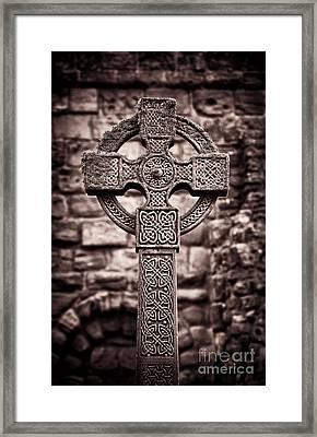Celtic Cross Lindisfarne Priory Framed Print