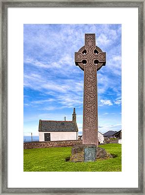 Celtic Cross On The Scottish Coast At North Berwick Framed Print by Mark E Tisdale