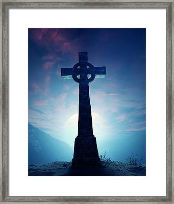 Celtic Cross With Moon Framed Print by Johan Swanepoel