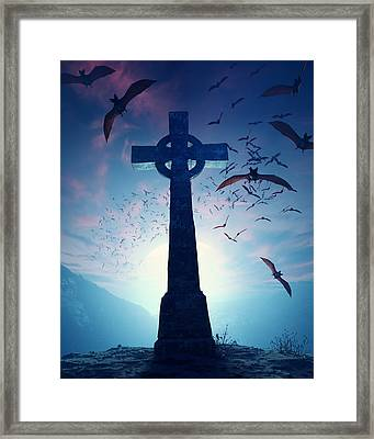 Celtic Cross With Swarm Of Bats Framed Print by Johan Swanepoel