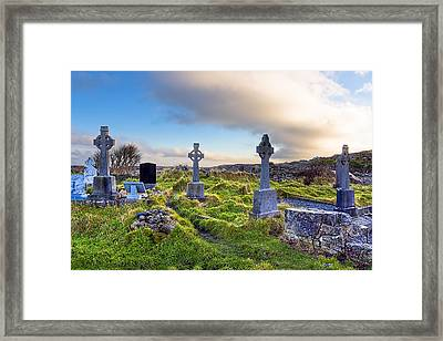 Celtic Crosses In An Old Irish Cemetery Framed Print by Mark E Tisdale
