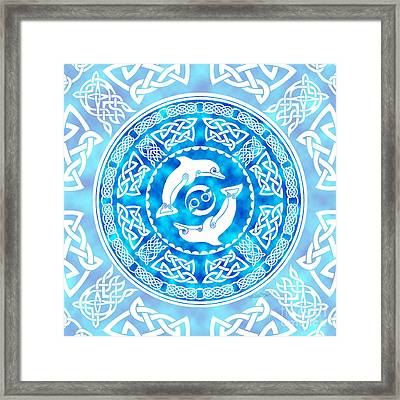 Framed Print featuring the mixed media Celtic Dolphins by Kristen Fox