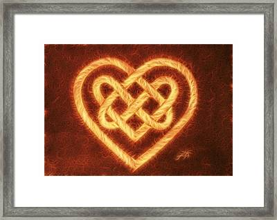 Celtic Heart Knot Digital Coffee Framed Print