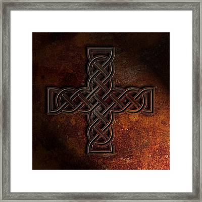 Celtic Knotwork Cross 2 Rust Texture Framed Print by Brian Carson