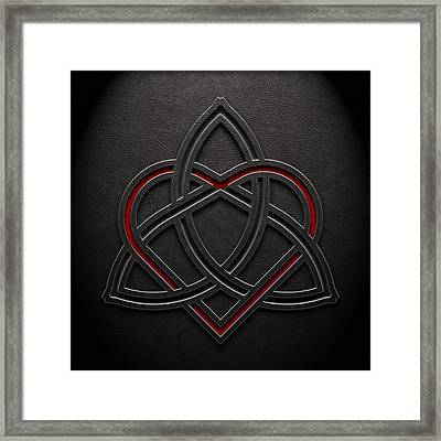 Framed Print featuring the digital art Celtic Knotwork Valentine Heart Leather Texture 1 by Brian Carson
