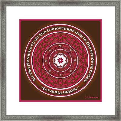 Celtic Lotus Mandala In Pink And Brown Framed Print by Celtic Artist Angela Dawn MacKay
