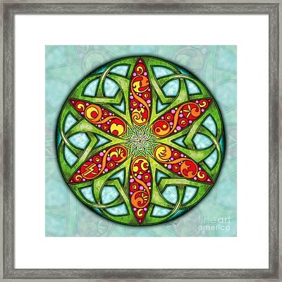 Framed Print featuring the mixed media Celtic Summer Mandala by Kristen Fox
