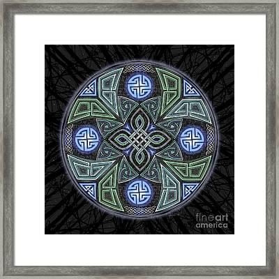 Framed Print featuring the mixed media Celtic Ufo Mandala by Kristen Fox