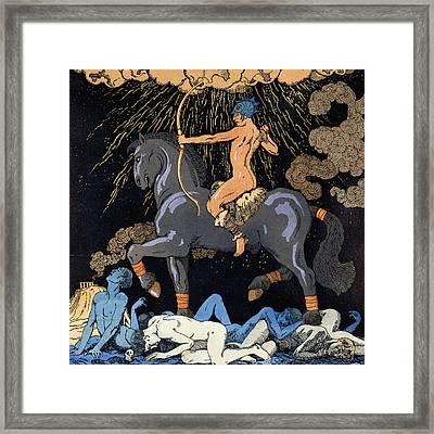 Celui Qui Monte Le Cheval Noir Framed Print by Georges Barbier
