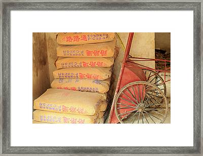 Cement Bags And Cart, Nanfeng Kiln Framed Print