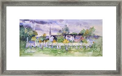 Cemetary Watercolor Framed Print by Sally Simon