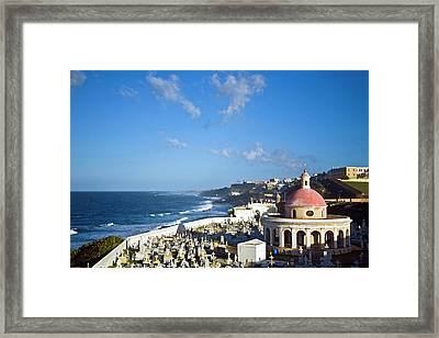 Cemetery And La Perla From El Morro Framed Print by Miva Stock