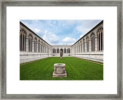 Cemetery At Cathedral Square In Pisa Italy Framed Print by Susan Schmitz