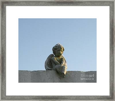 Framed Print featuring the photograph Cemetery Cherub by Joseph Baril