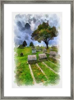 Cemetery Clouds Framed Print