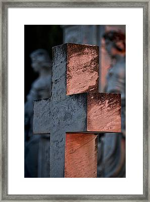 Cemetery Cross - Hvar Croatia Framed Print