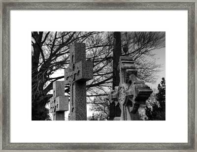 Cemetery Crosses Framed Print by Jennifer Ancker