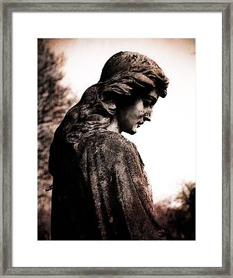 Cemetery Grief Framed Print by Sonja Quintero