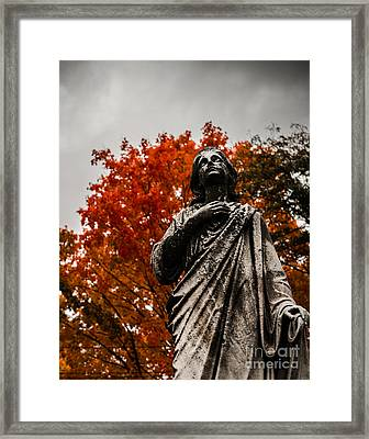 Cemetery In Fall Framed Print