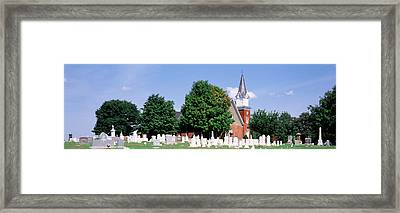 Cemetery In Front Of A Church Framed Print